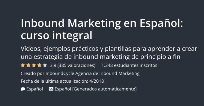 Inbound Marketing en Español: curso integral del Udemy