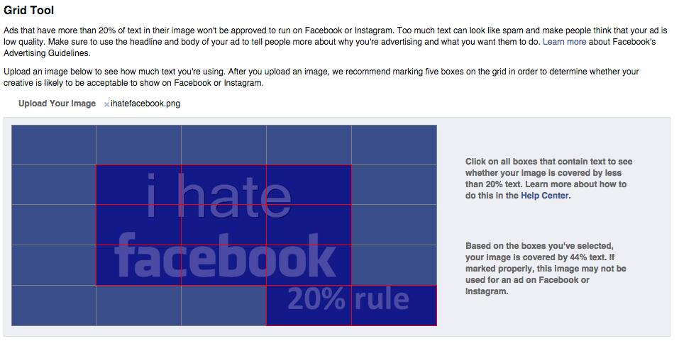 Porcentaje texto imagen Facebook