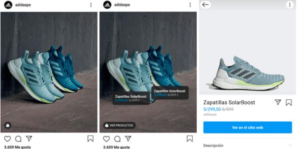 Ejemplo de instagram shopping